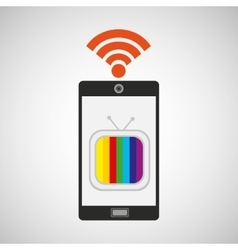 Smartphone tv internet wifi icon vector