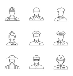 Workers icons set outline style vector