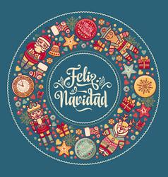 feliz navidad xmas card on spanish language warm vector image