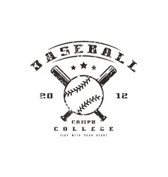 emblem of baseball college team vector image