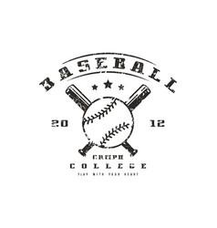 Emblem of baseball college team vector