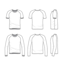 Templates of blank t-shirt and tee vector