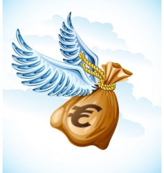 flying sack of euro money vector image
