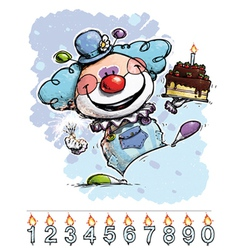 Clown carrying a boys birthday cake vector