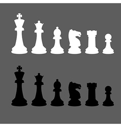 Complete set of silhouettes chess pieces vector