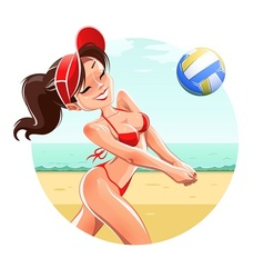 Girl play volleyball on beach vector