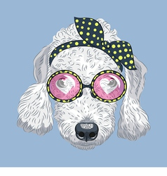 Hipster dog bedlington terrier vector