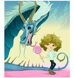 Friendship between boy and dragon vector