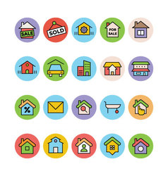 Real estate icons 5 vector