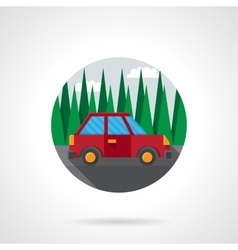 Car test drive flat color design icon vector