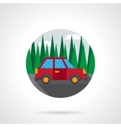 Car test drive flat color design icon vector
