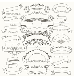 Hand drawn floral design elements ribbons vector
