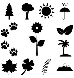 Trees flowers and animal tracks nature icons set vector