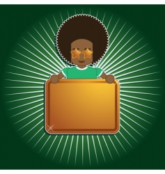 Afro boy holding sign vector