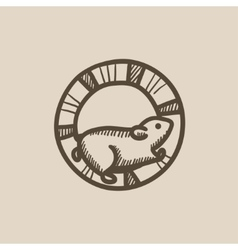 Hamster running in the wheel sketch icon vector image