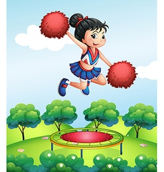 A cheerleader above a trampoline vector