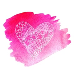 Abstract doodle heart on a watercolor background vector image vector image