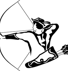 Archer aiming archery quiver behind robin hood vector