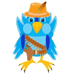 Bird in cloth cowpuncher vector image