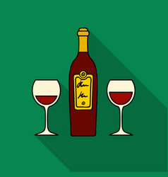 Bottle of red wine with glasses icon in flat style vector