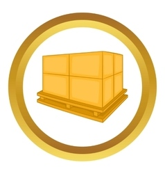 Cardboard boxes on wooden palette icon vector