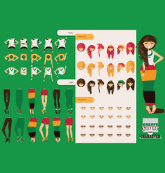 constructor of rastafarian girl character vector image vector image