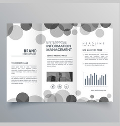 Creative black circle trifold brochure design vector