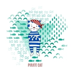 Cute cat pirate vector