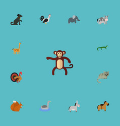flat icons chipmunk chimpanzee rooster and other vector image vector image