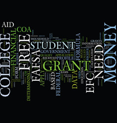 Free grant money for college text background word vector