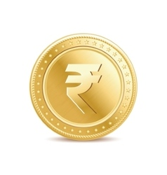 Golden isolated rupee coin on the white background vector