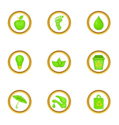 green world icons set cartoon style vector image