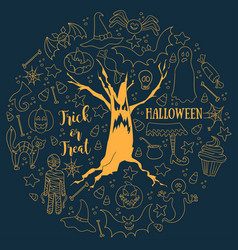 halloween dark background big hand-drawn vector image