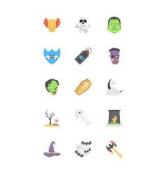 Halloween flat icons set vector