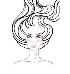 Hand-drawn fashion female portrait vector image vector image