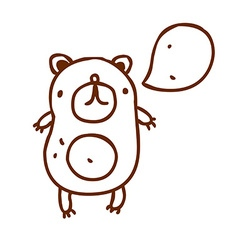 Hand drawn talking bear vector