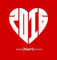Heart with new year date vector