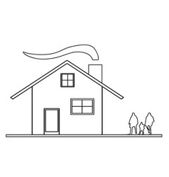 house sketch with smoke from chimney vector image vector image