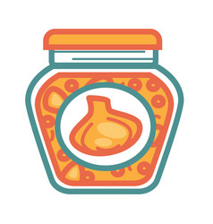 Jar with pickled garlic vector