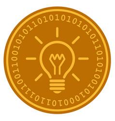 Light bulb digital coin vector