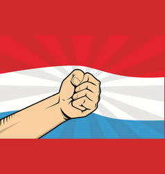 Luxembourg fight protest symbol with strong hand vector