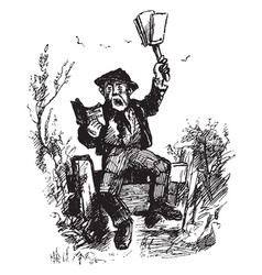 man reading book aloud vintage engraving vector image vector image