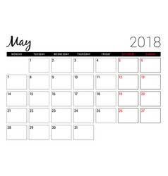 May 2018 printable calendar planner design vector