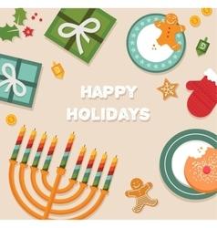 Merry christmas and happy hanukkah celebration vector