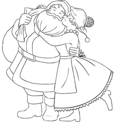 Mrs claus kisses santa on cheek and hugs coloring vector