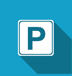 Parking sign with long shadow street road sign vector