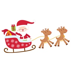 Santa in sledge isolated vector image
