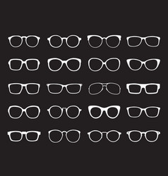 set of white glasses isolated icons vector image vector image