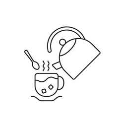 thin line cup and teapot vector image vector image