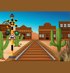 Train track through western town vector
